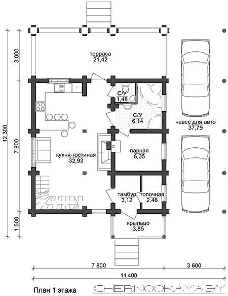 Проект деревянного дома №1573 план