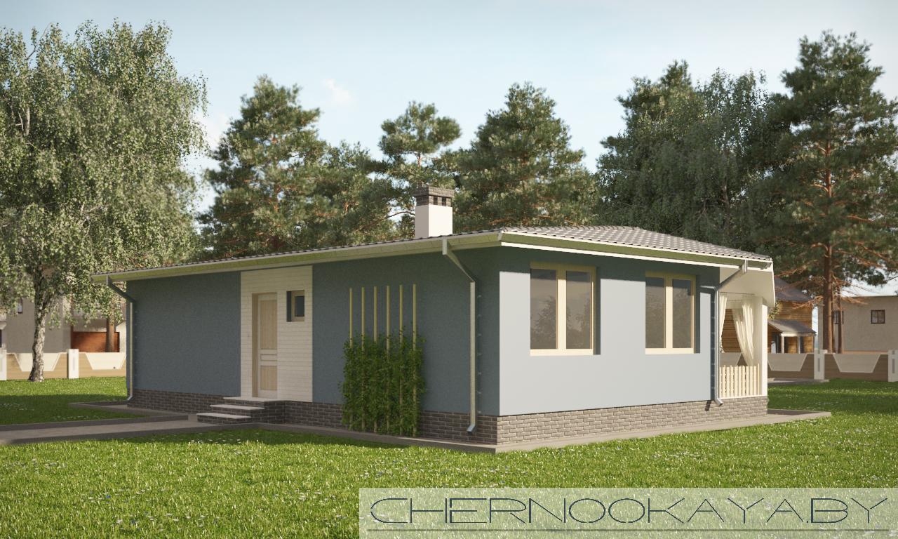 проект одноэтажного дома №1566 фасад