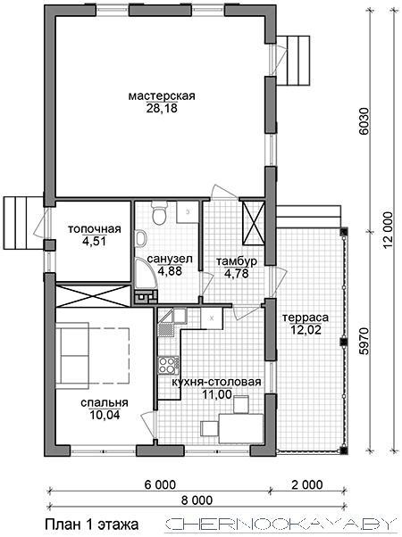 проект одноэтажного дома №1566 план