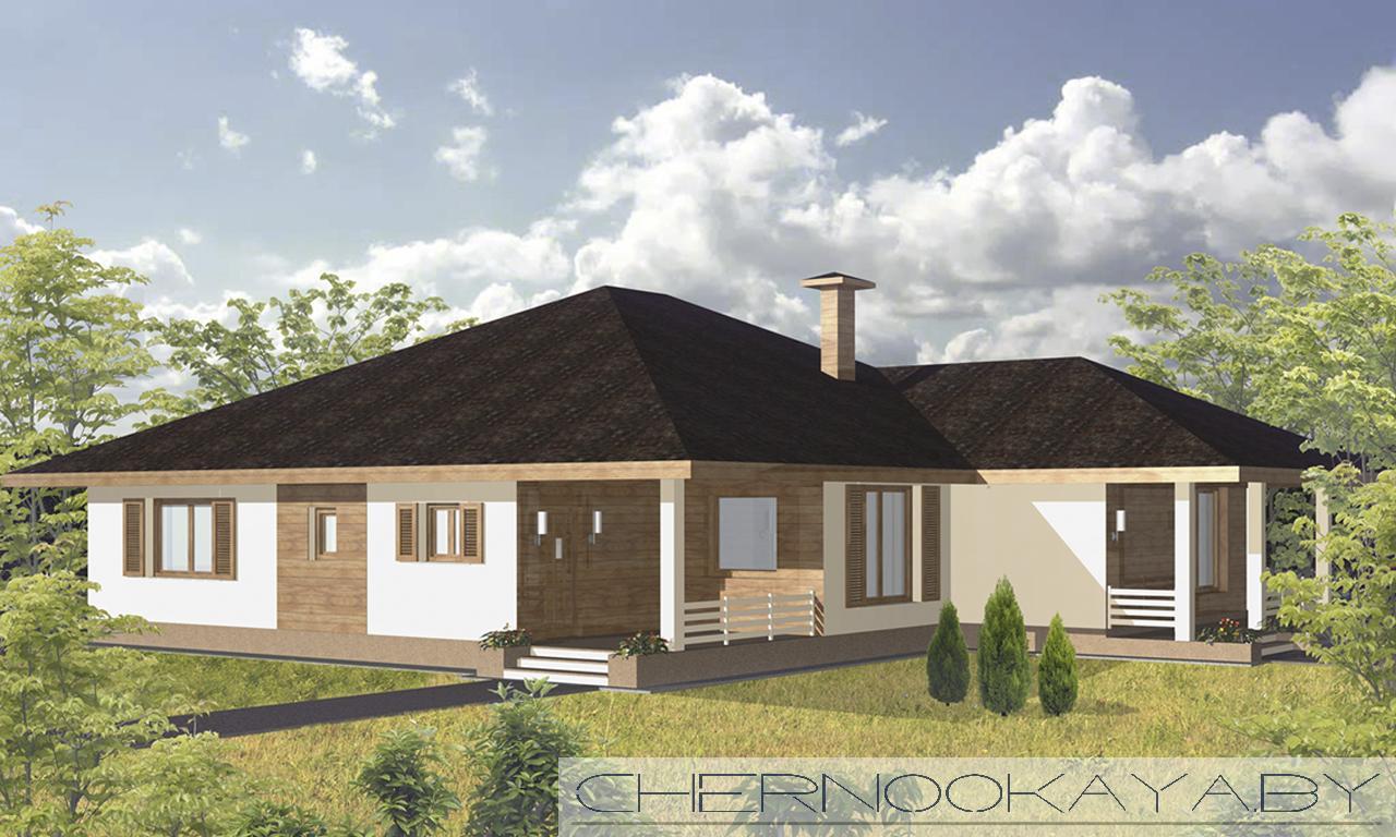 Проект одноэтажного дома №1530 фасад
