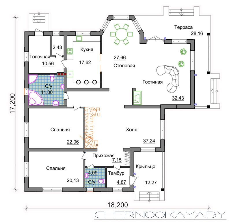 Проект одноэтажного дома №1530 план