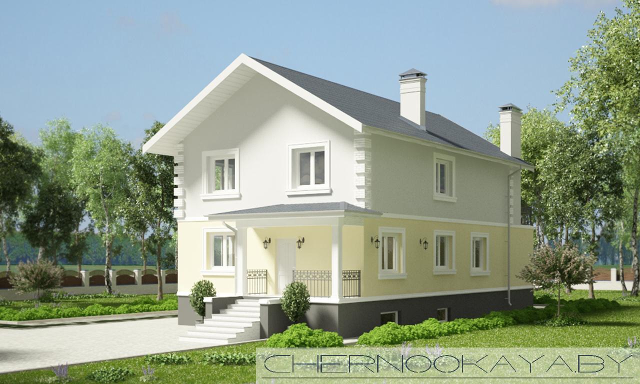 Проект дома №1533-6 с подвалом фасад