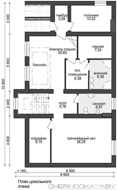 Проект дома №1533-6 с подвалом план