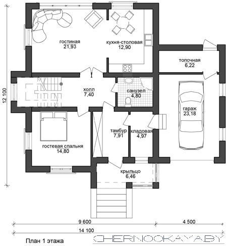 Проект дома №1533-7 с гаражом план