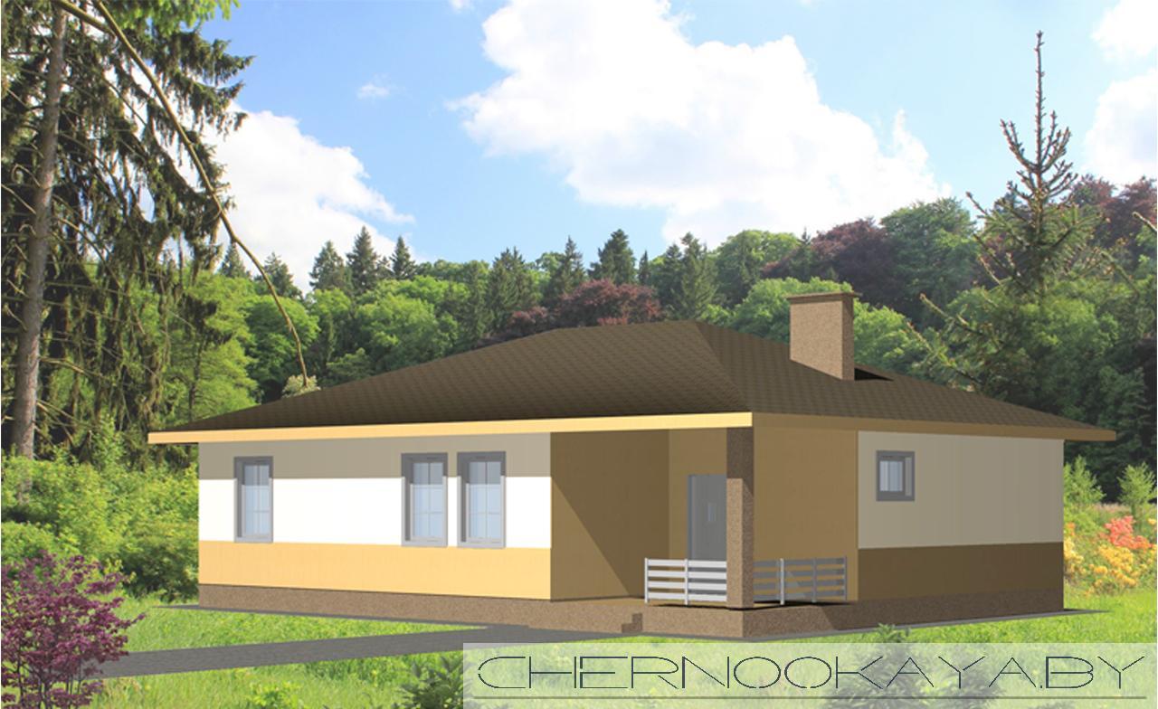 Проект одноэтажного дома №1535 фасад