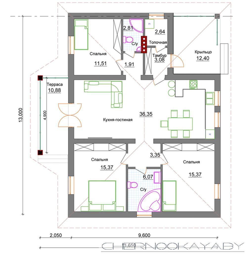 Проект одноэтажного дома №1535 план