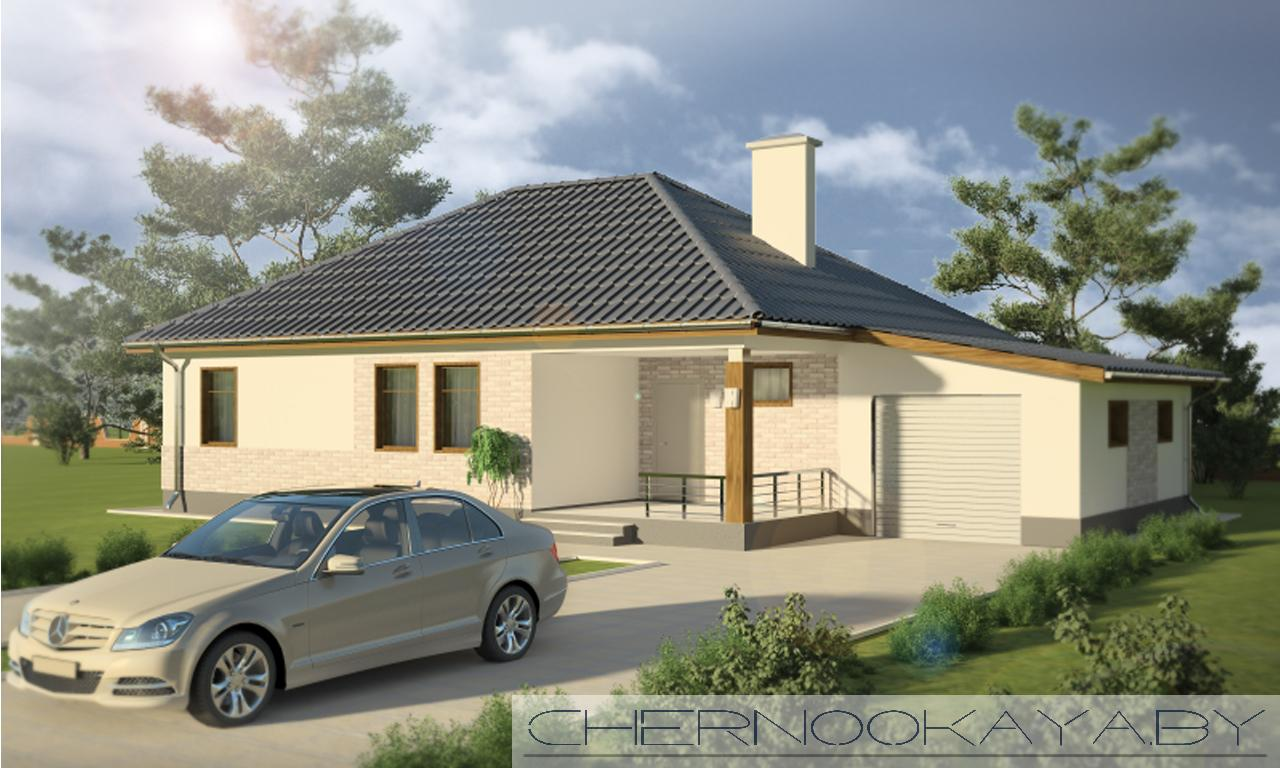 Проект одноэтажного дома с гаражом №1535-2 фасад