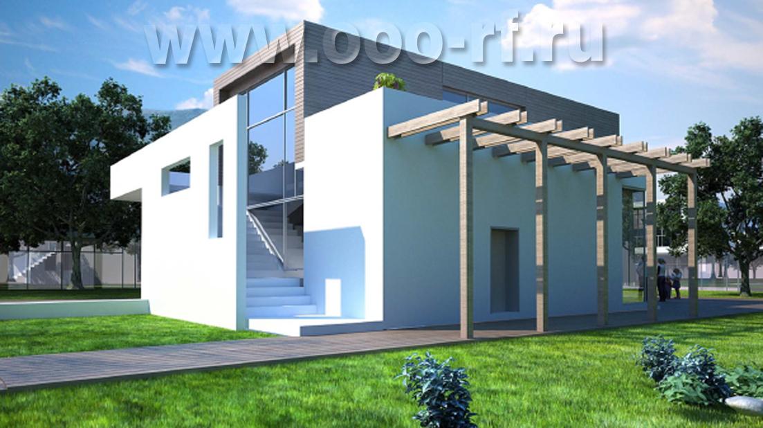 Современный дом с прямой крышей фасад
