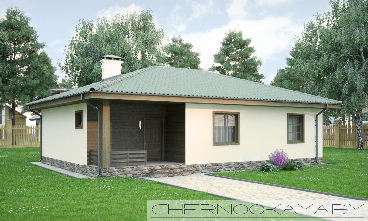 Проект одноэтажного дома №1535-4 фасад