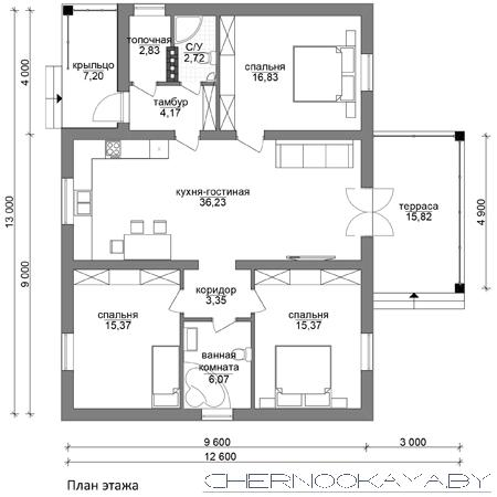 Проект одноэтажного дома №1535-4 план