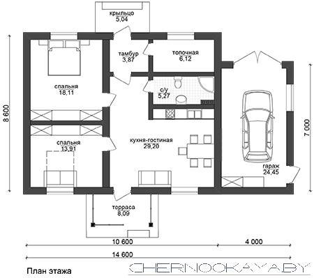 Проект дома №1550-3 с гаражом план