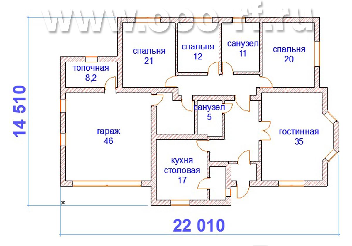 1-о этажный дом с гаражом план