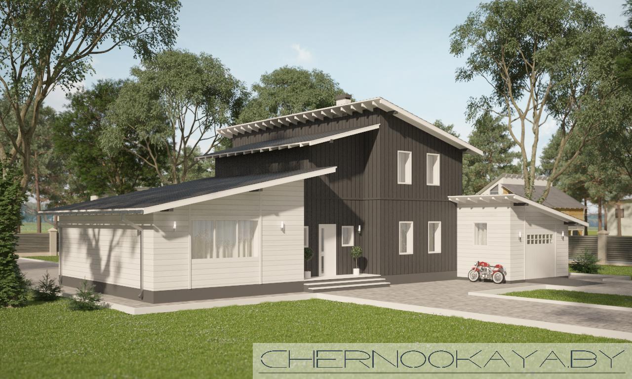 Проект современного дома №1569 фасад