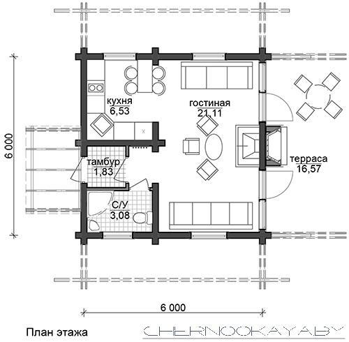 №1542 ГОСТЕВОЙ ДЕРЕВЯННЫЙ ДОМ 6Х6 МЕТРОВ план