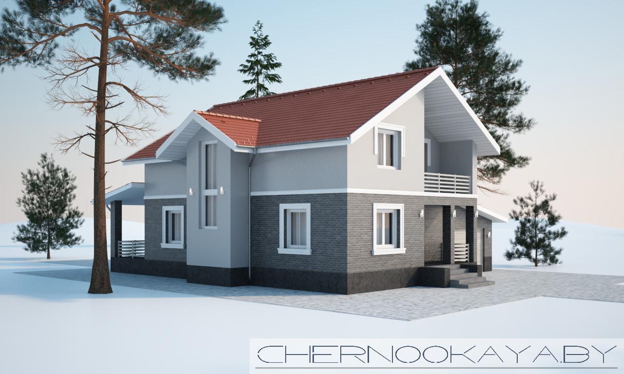 Проект дома №1533-8 С ГАРАЖОМ И ТЕРРАСОЙ фасад