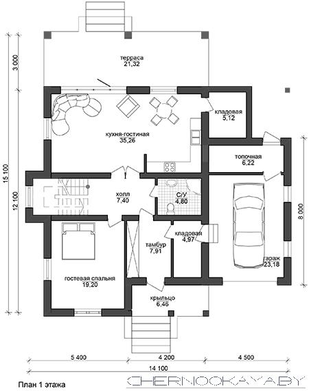 Проект дома №1533-8 С ГАРАЖОМ И ТЕРРАСОЙ план