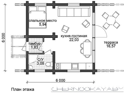 №1571 ГОСТЕВОЙ ДЕРЕВЯННЫЙ ДОМ 6Х6 МЕТРОВ план