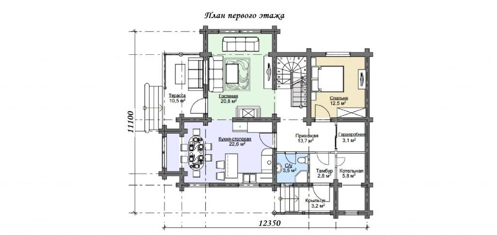 "Дом из оцилиндрованного бревна проект ""Герцог"" план"