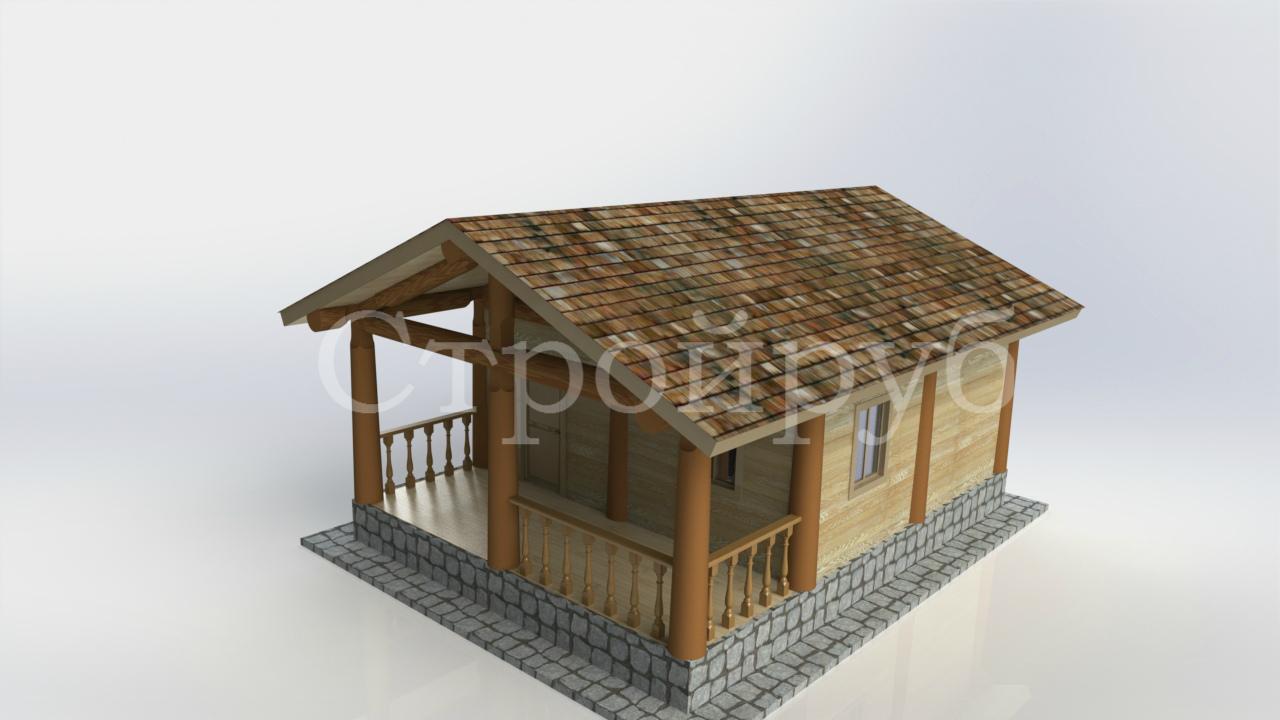 Каркасный дом 6 х 7.9 м с террасой фасад