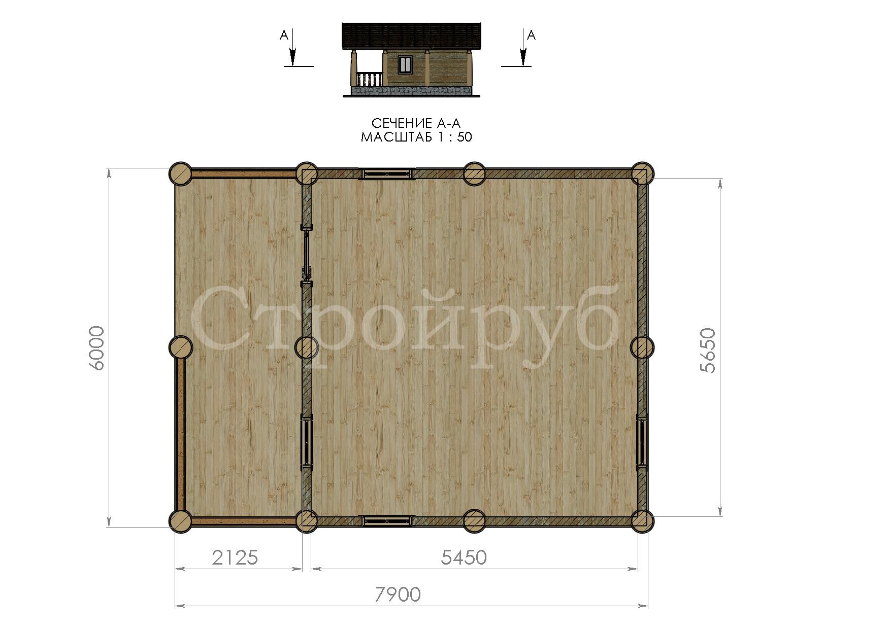Каркасный дом 6 х 7.9 м с террасой план
