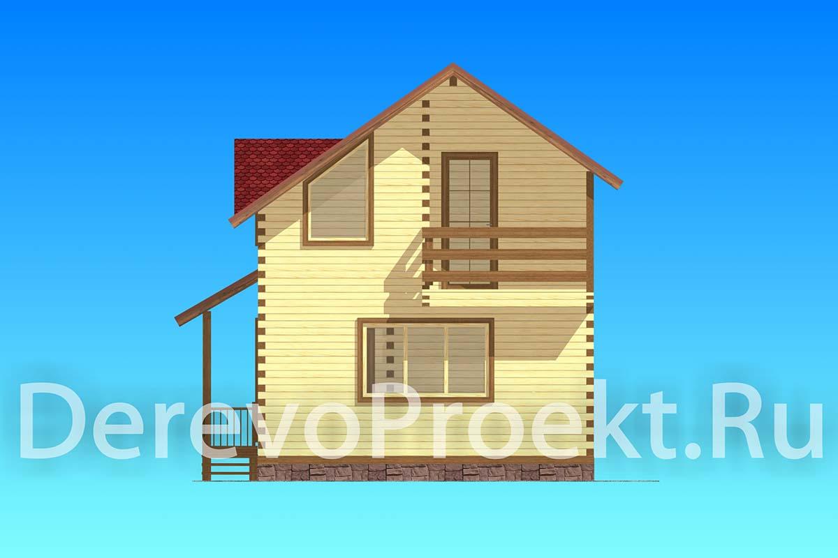 Проект двухэтажного дома 67м2 - брус 140х140 фасад