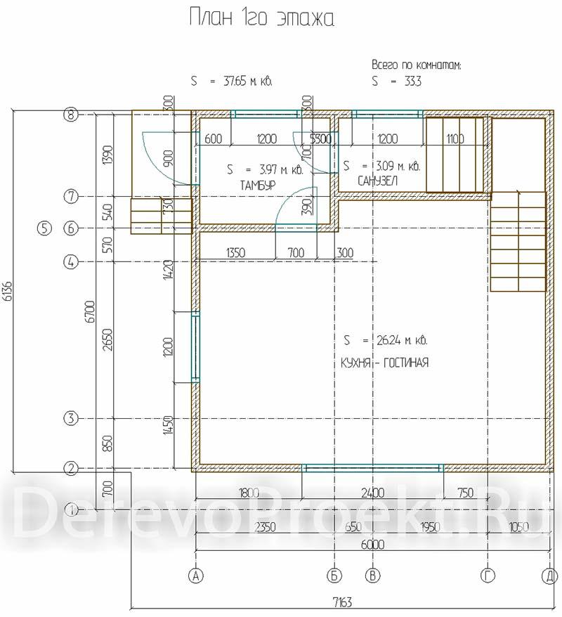 Проект двухэтажного дома 67м2 - брус 140х140 план