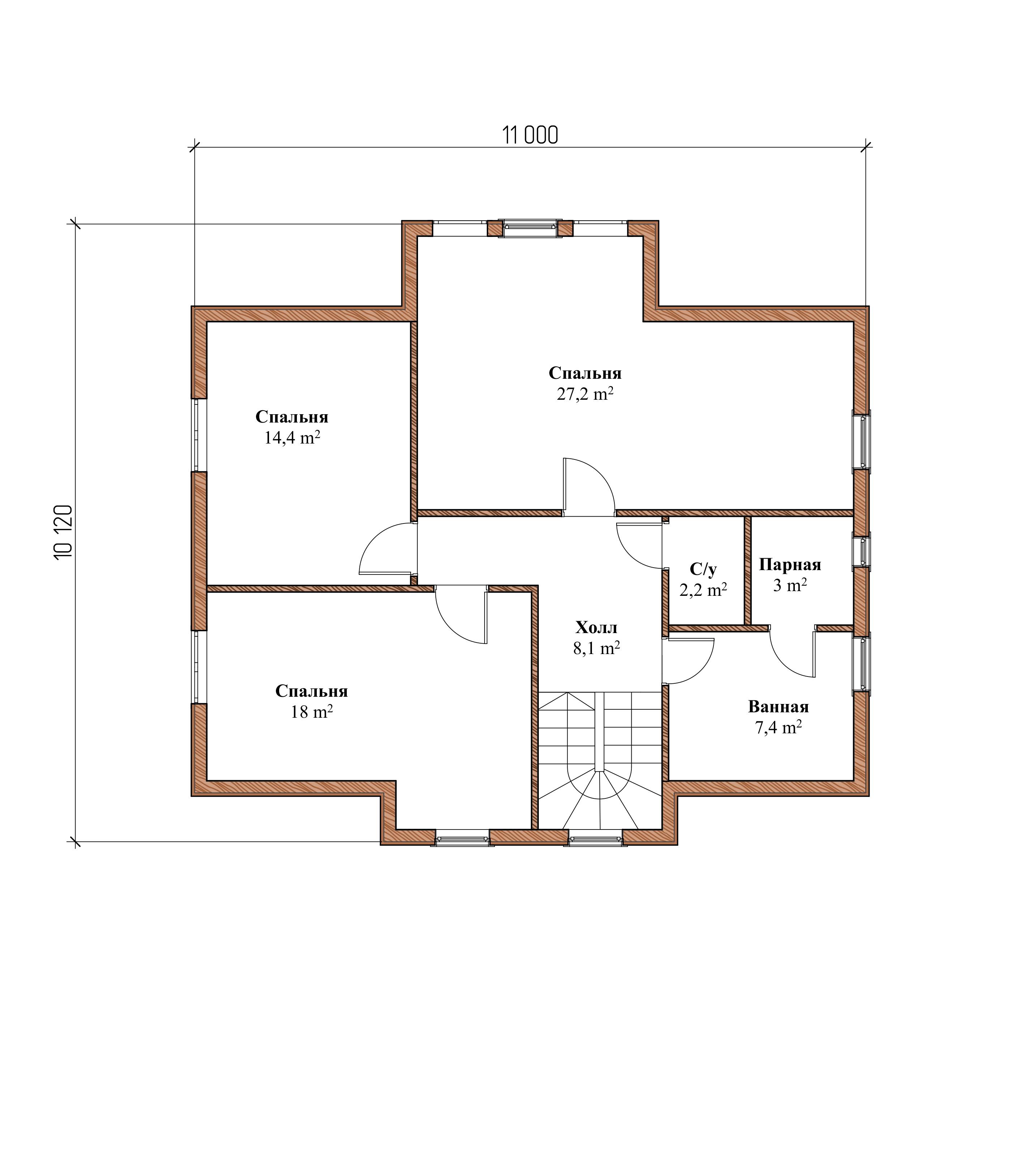 Проект каркасного дома К-1. Общая площадь 200 м2 план