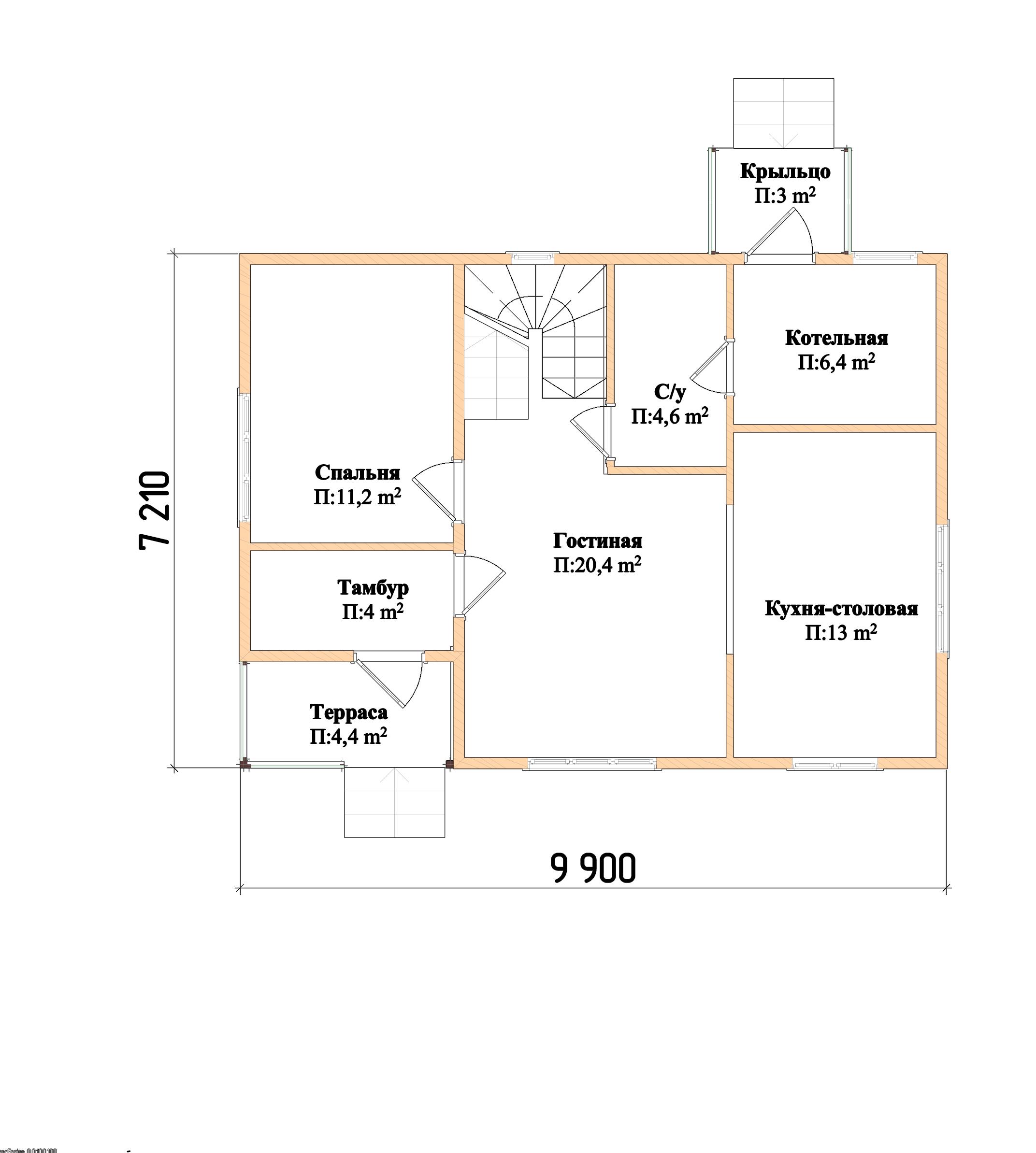 Проект каркасного дома К-2. Общая площадь 118 м2 план