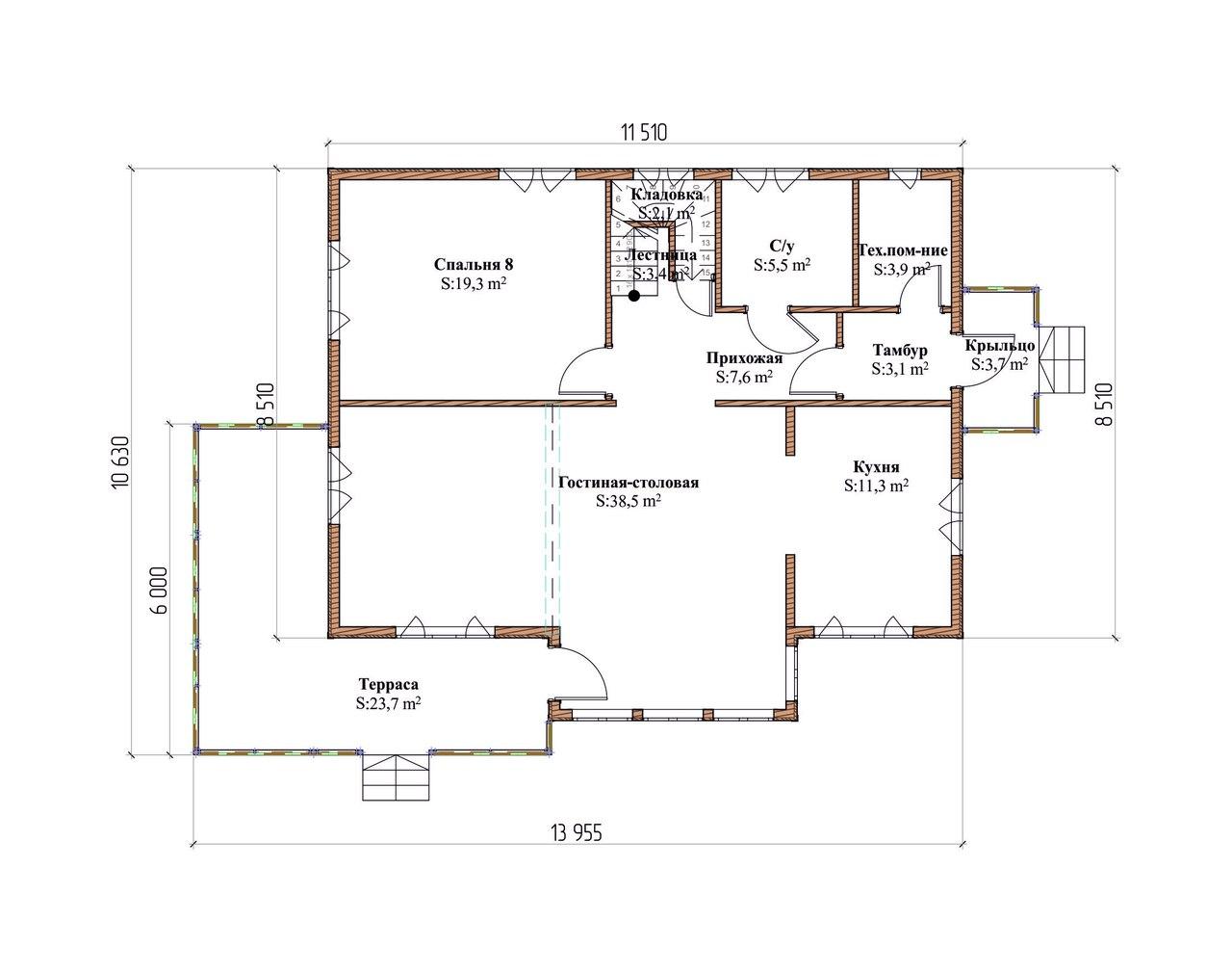Проект каркасного дома К-7. Общая площадь 225 м2. план