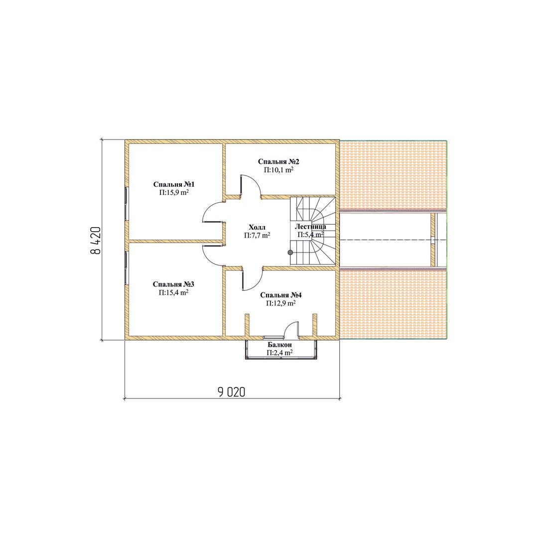 Проект каркасного дома К 3. Общей площадью 176 м2 план