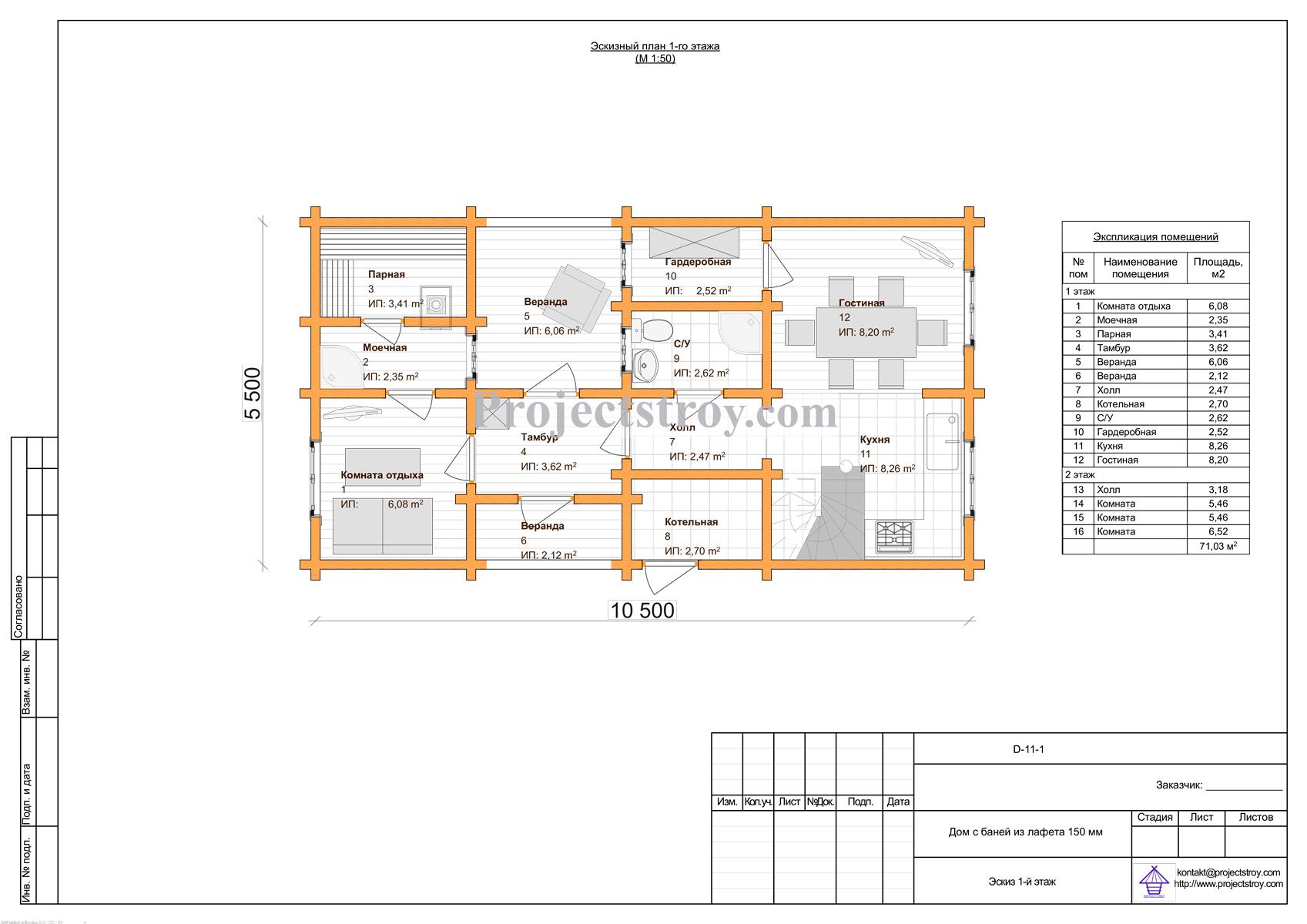 Дом-баня из лафета - проект + разбрусовка план