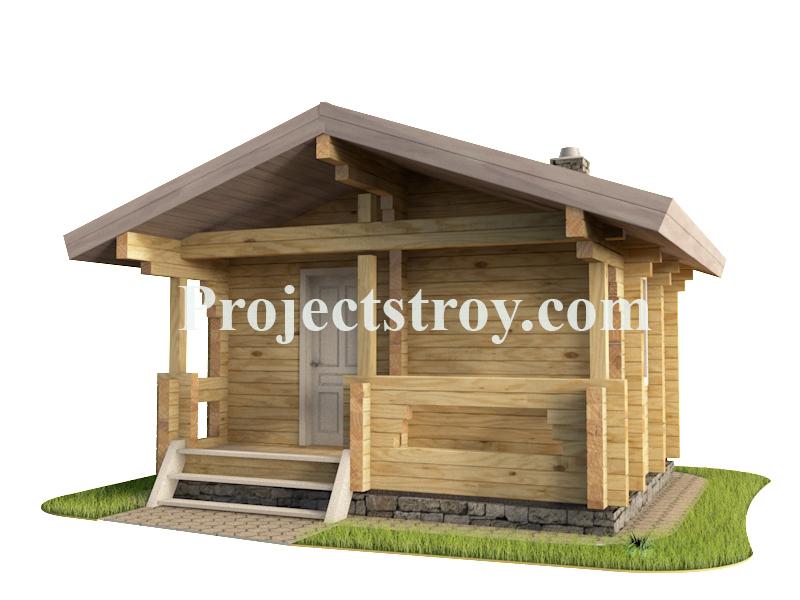 Проект небольшой  бани из брус 150 мм фасад