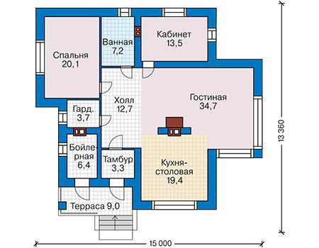 Проект кирпичного дома 41-88 план