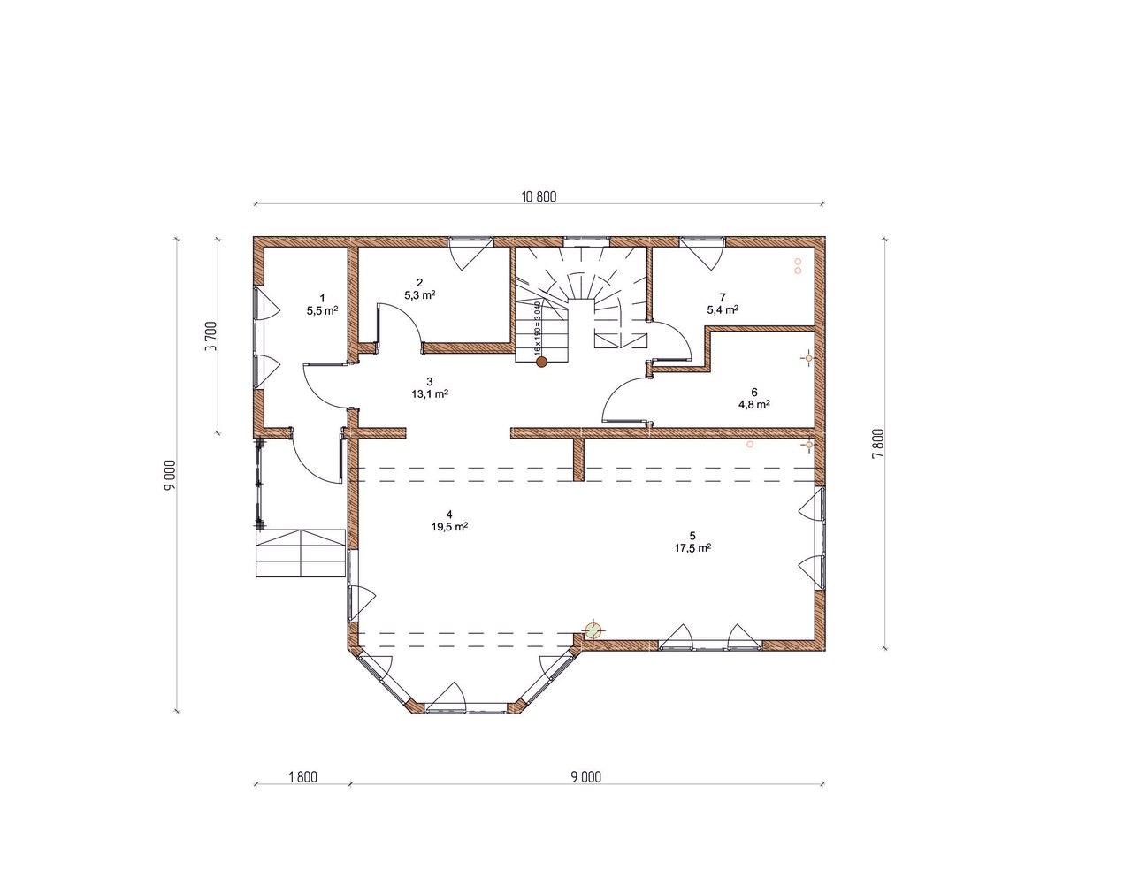 Проект каркасного дома К-9 план