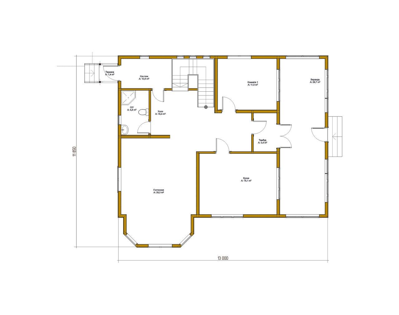 Проект каркасного дома К-8 план