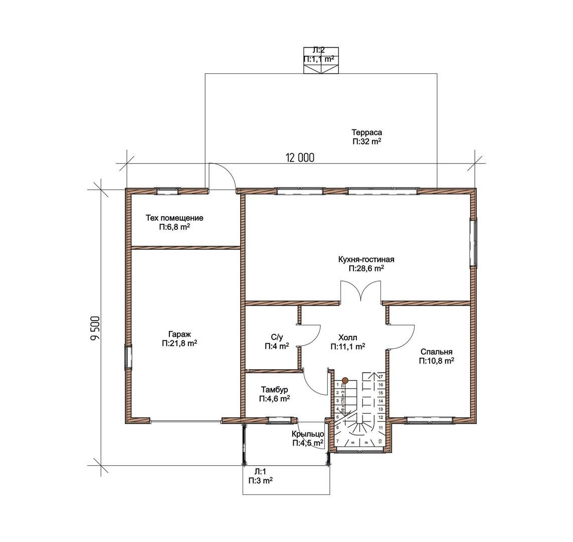 Проект каркасного дома К-10 план