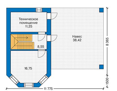 Проект кирпичного дома 41-96 план