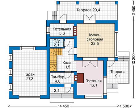 Проект кирпичного дома 42-22 план