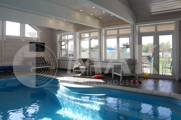 """Финский деревяный дом с бассейном """"Скандинавия"""" фасад"""