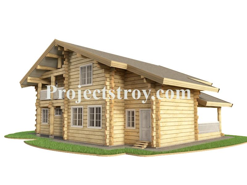 Проект дома из лафета. фасад