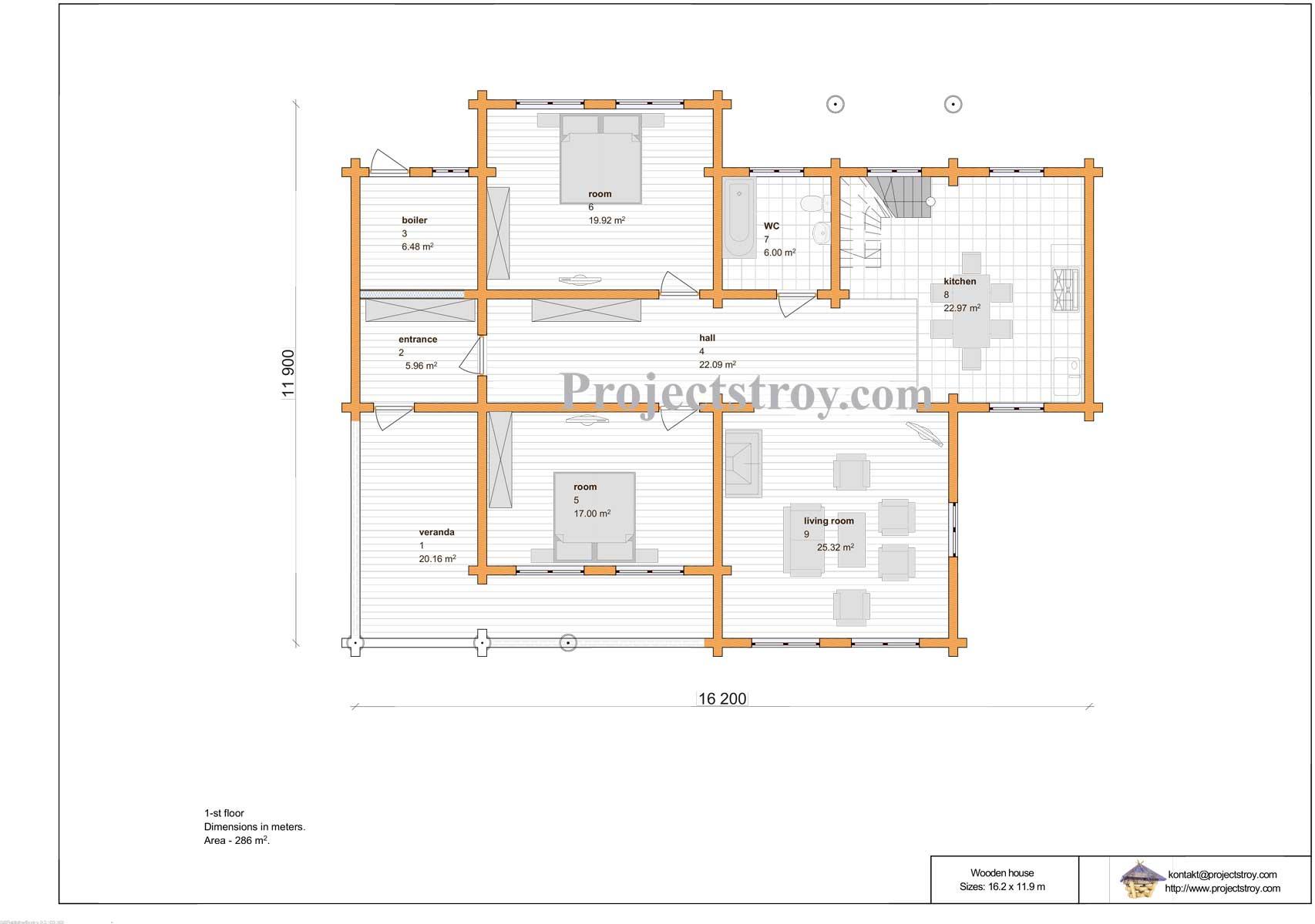 Проект дома из лафета. план