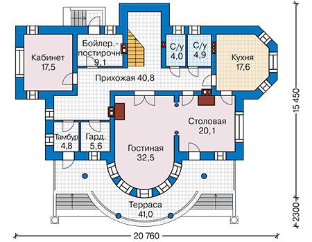 Проект кирпичного дома 42-50 план