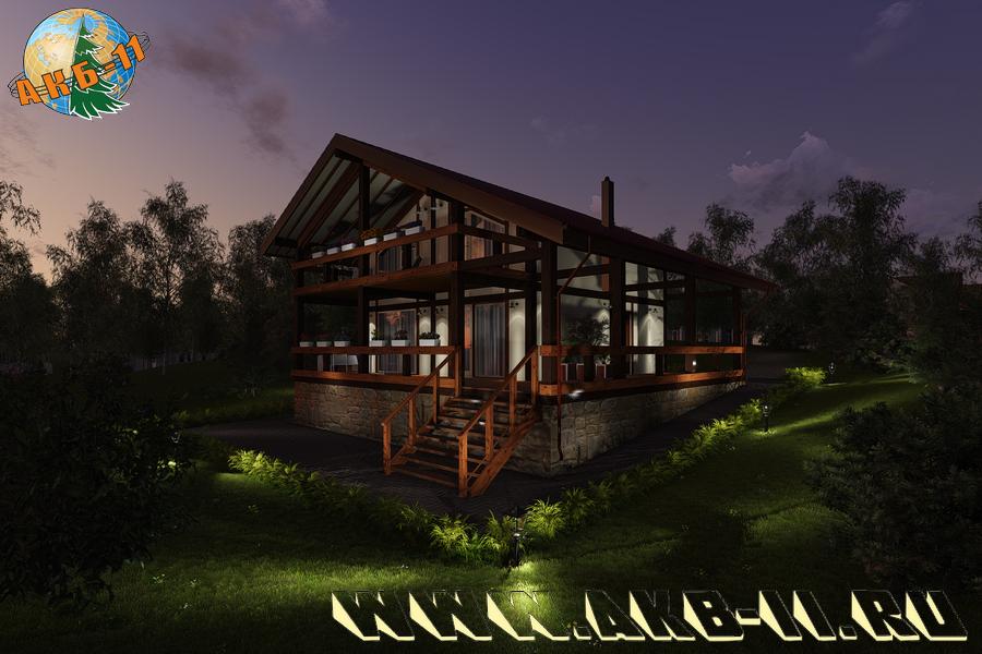 Деревянный жилой дом по технологии фахверк КФ-314 фасад