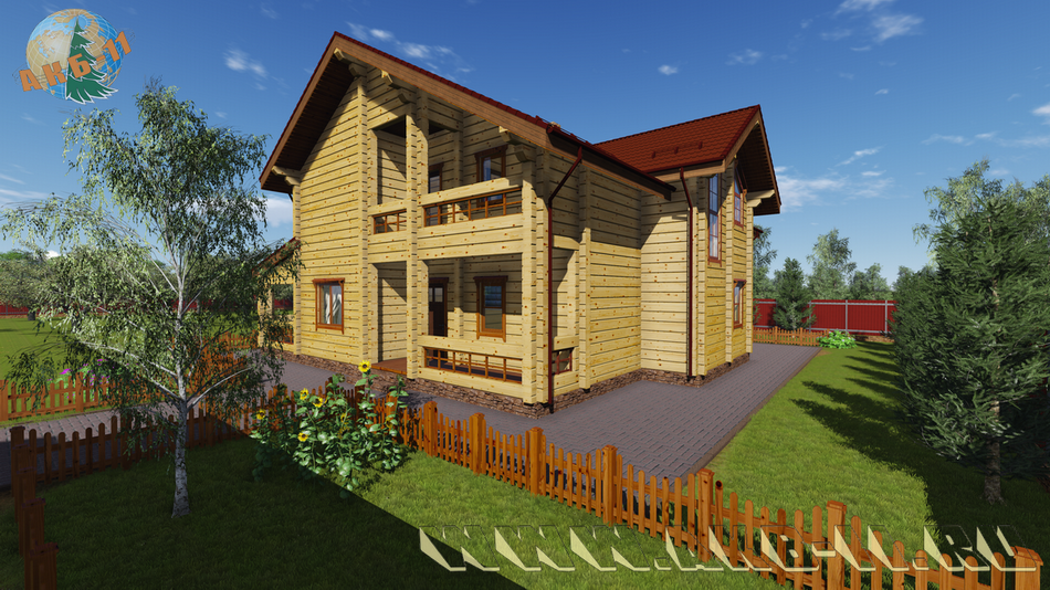 Деревянный жилой дом из клееного бруса КБ-320 фасад