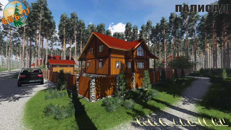 Деревянный жилой дом по технологии фахверк КФ-250 фасад
