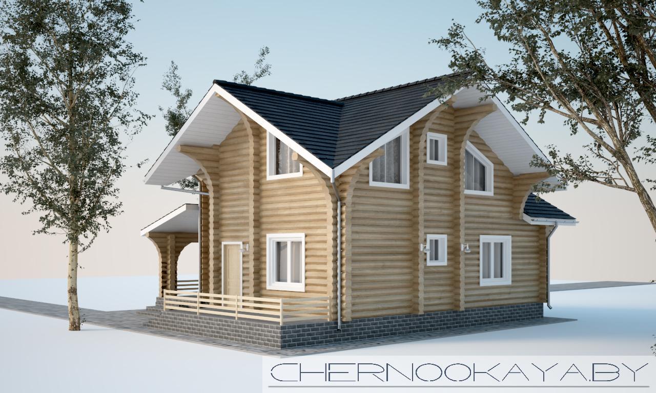 Проект деревянного дома №1583 с мансардой фасад