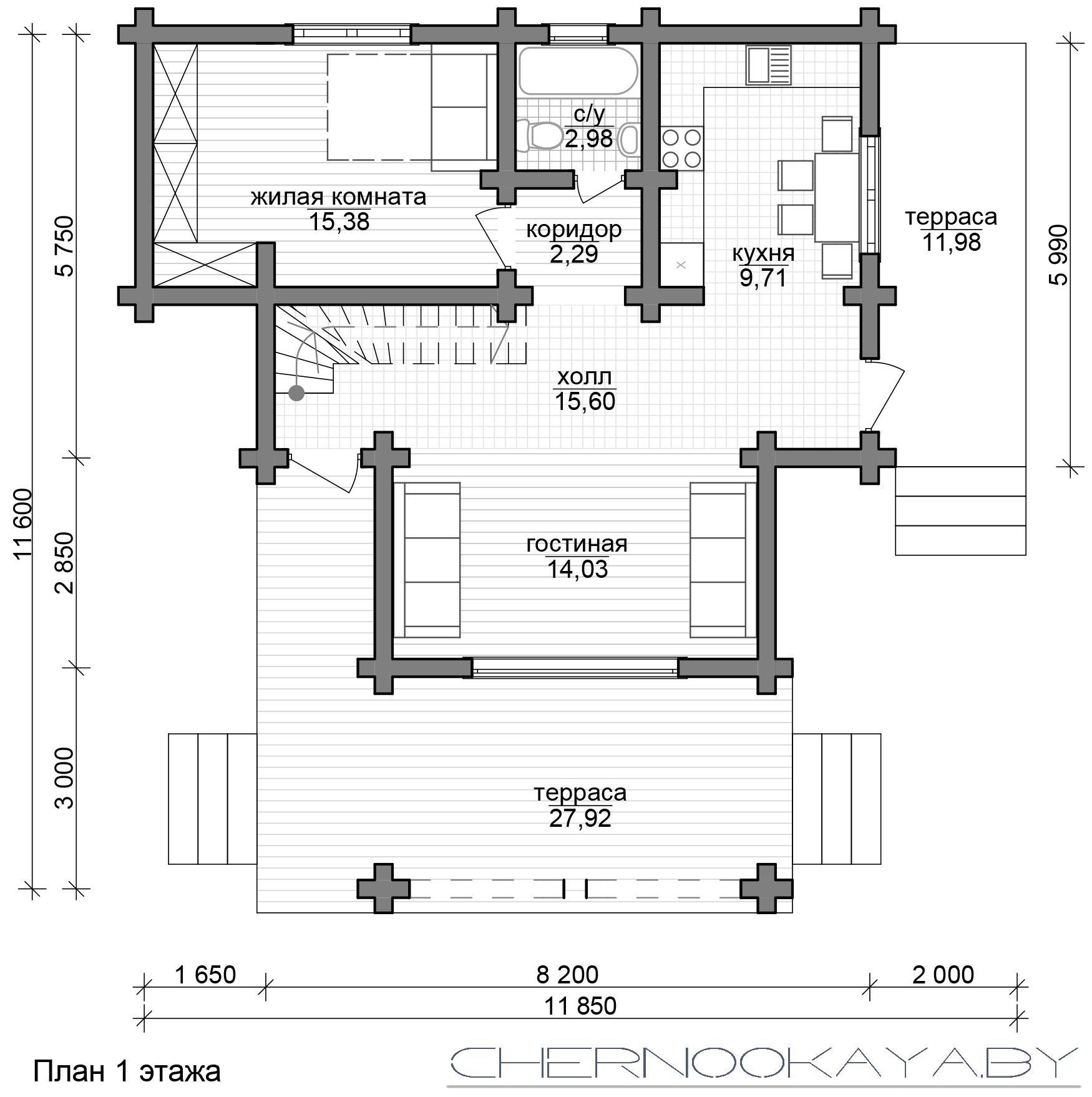 Проект деревянного дома №1583 с мансардой план