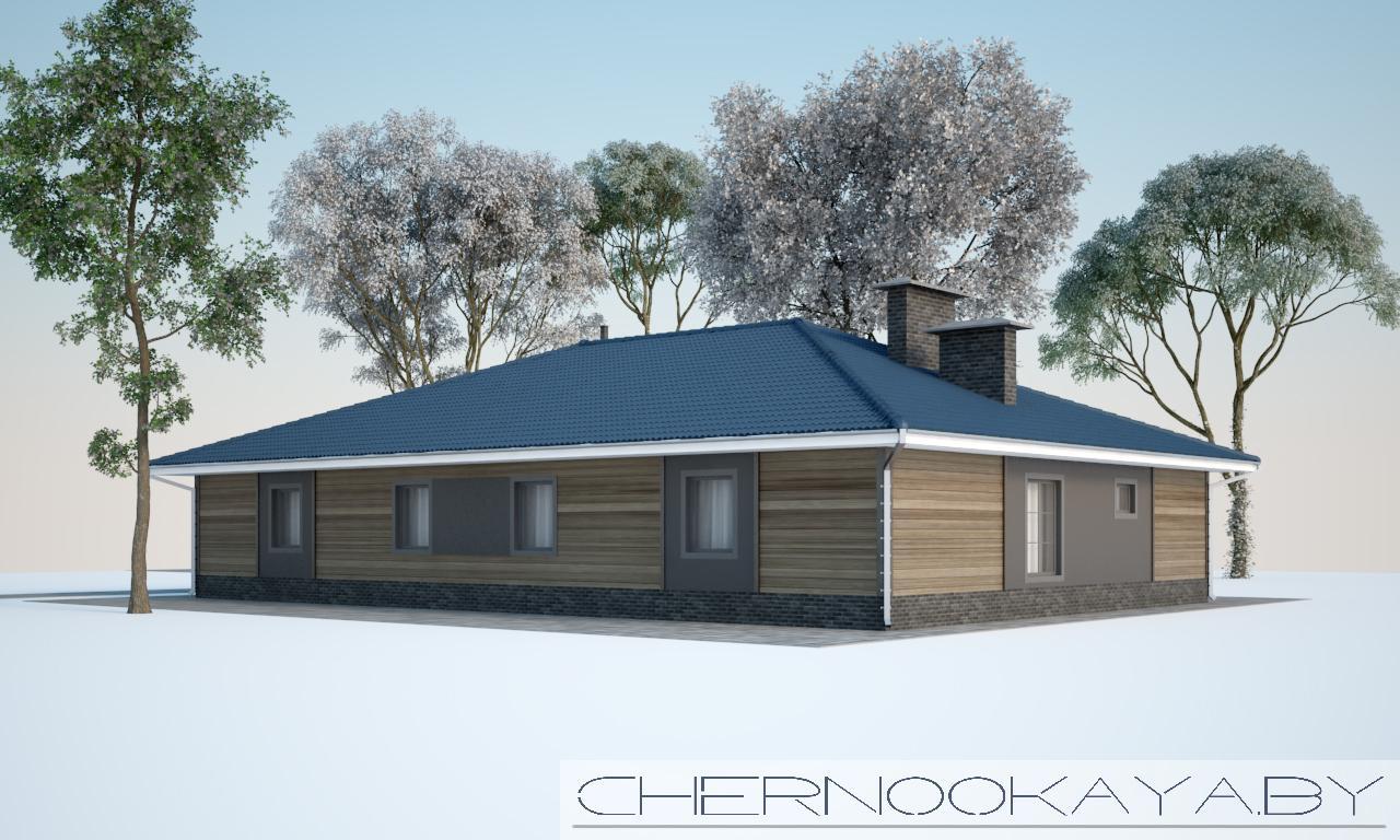 Проект дома из деревянного каркаса №1587 фасад