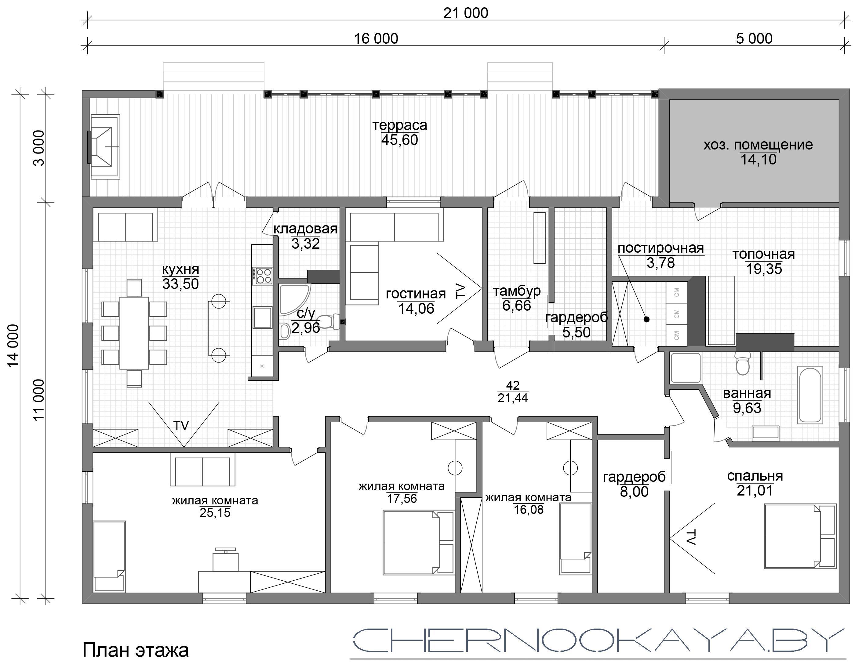 Проект дома из деревянного каркаса №1587 план