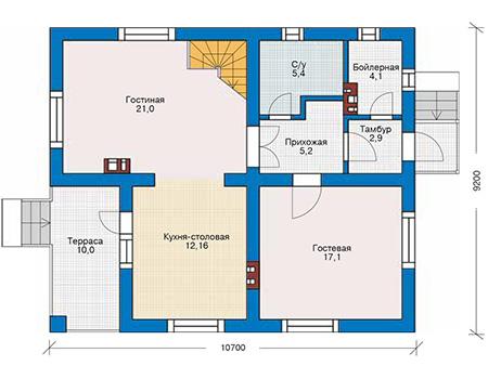 Проект кирпичного дома 42-52 план